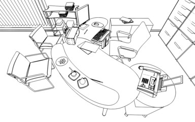 illustration of an outline sketch of a interior. 3D Graphical d
