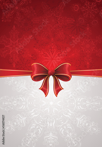 Greeting card with red bow and snowflakes.