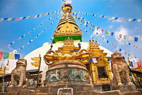 Keuken foto achterwand Nepal Stupa in Swayambhunath Monkey temple , Kathmandu, Nepal.