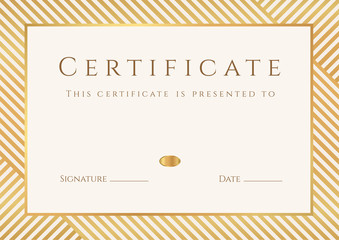 Certificate / Diploma template (design). Stripy gold pattern