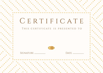 White Certificate / Diploma template (design). Stripy pattern