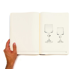 Two vintage glass printed on white book.