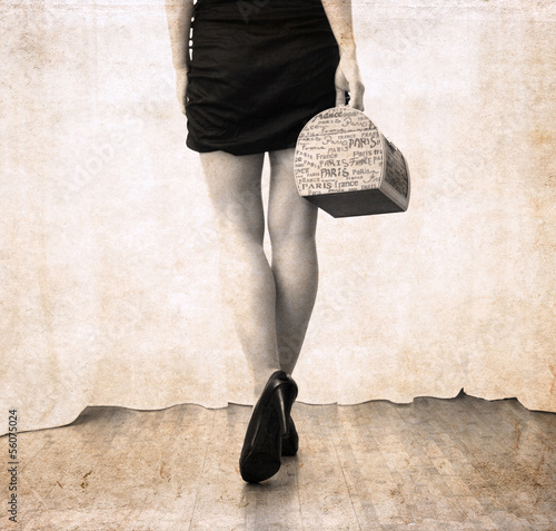artwork  in vintage style,  beautiful woman going to Paris