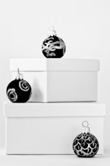 White gift boxes and christmas ornaments