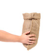 Hand holds bag of money.