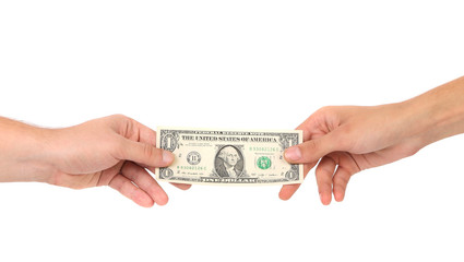 The transfer of money from hand to hands