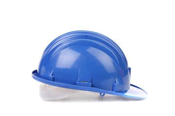 Blue hard hat.
