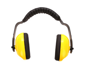 Yellow working protective headphones