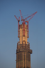Tower or skyscraper under construction in Shanghai