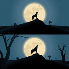 Halloween background with werewolf howling in moonlight
