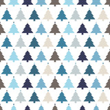 Seamless Pattern Christmas Trees Stars Blue