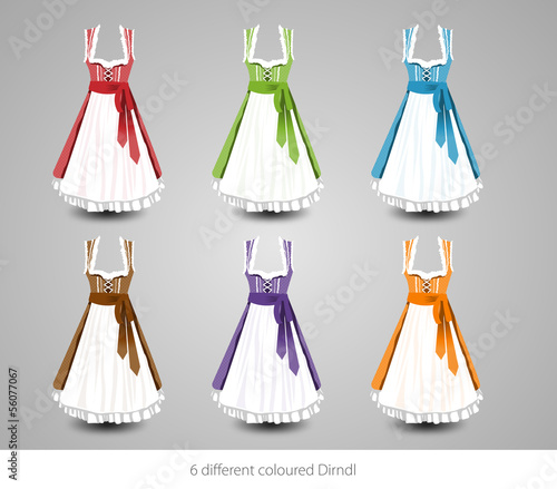 6 different coloured Dirndl