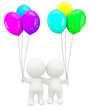 3D couple holding balloons
