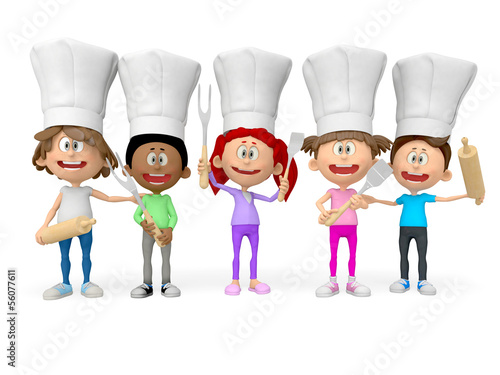 3D group of cooks