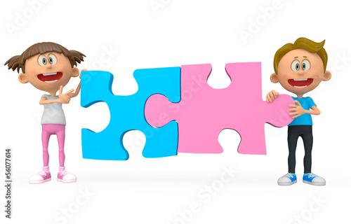 3D kids holding puzzle
