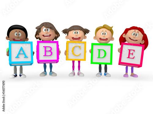 3D kids holding ABC cubes