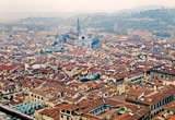 Florence panoramic view and The Basilica di Santa Croce in the d