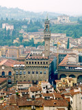 Florence panoramic view and The Palazzo Vecchio and Arnolfo towe