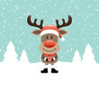 Rudolph With Gift Snow Forest Retro