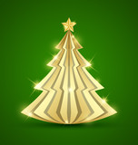 Simple golden Christmas tree