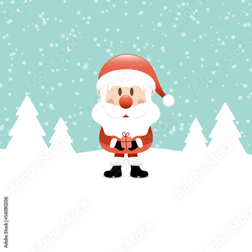 Santa With Gift Snow Forest Retro