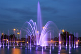 The illuminated fountain at night