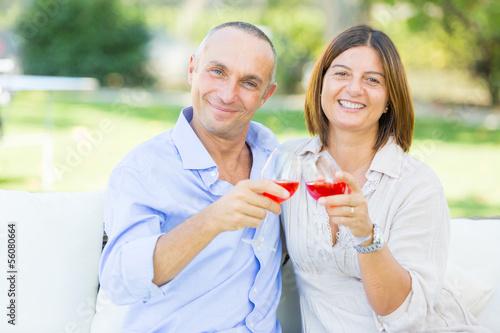 Mature Couple Having an Aperitif Outdoor
