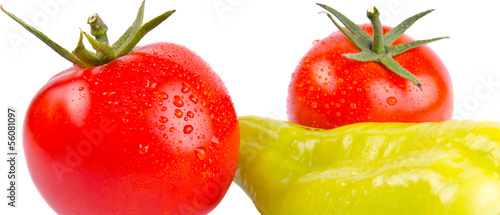 Tomatoes and pepper isolated.