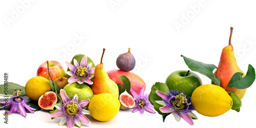 Obst: Früchte-Vielfalt, freigestellt vor weißem Hintergrund