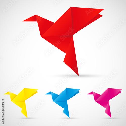 Deurstickers Geometrische dieren Origami Vögel