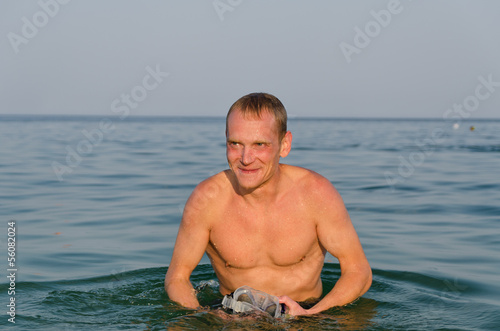 Man with goggles and snorkel
