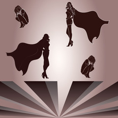 Elements for crouched woman and superheroine's shadow
