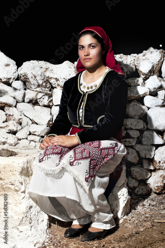 Woman with traditional wear of Crete, Greece