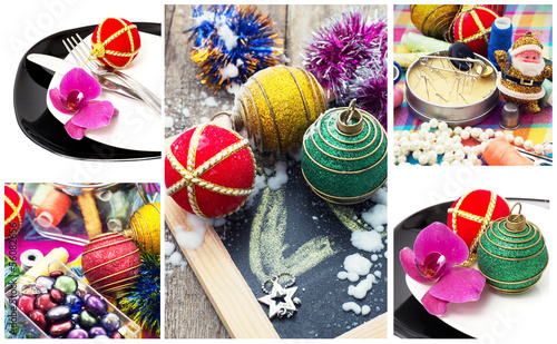 new year collage Christmas decorations