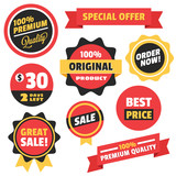 Set of Vector Badges Stickers and Ribbons