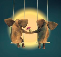 Dos elefantes en el columpio