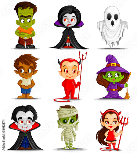 vector illustration of Halloween monster costume