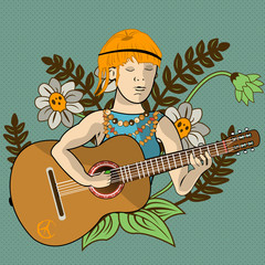 young hippie guitarist