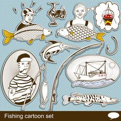 fishing cartoon set