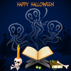 vector illustration of Halloween ghost coming out of book