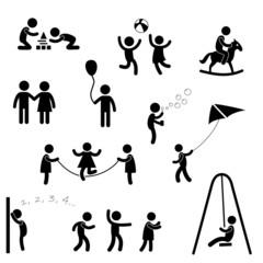 Set Piktogramm Kind Vektor Silhouette