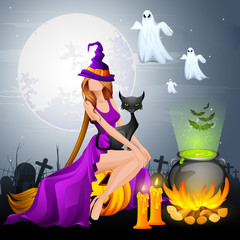 illustration of Halloween Witch preparing Poison in Cauldron