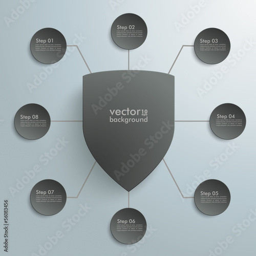 Black Protection Shield Infographic Design 8 Options