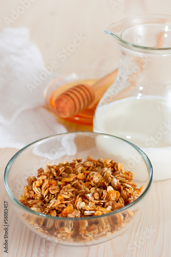 Granola with milk and honey