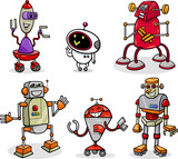 robots or droids cartoon illustration set