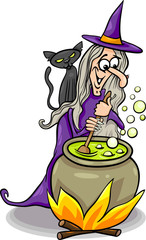 witch casting a spell cartoon illustration
