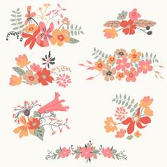Set of seven cute floral bouquets