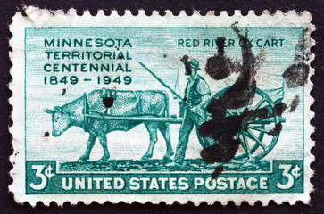 Postage stamp USA 1961 Pioneer and Red River Oxcart
