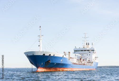 Chemical or gas tanker in sea