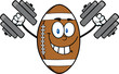 Smiling American Football Ball Character Training With Dumbbells